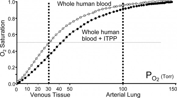 Como puede verse en la figura, la saturación de oxígeno del pigmento es sensiblemente inferior cuando éste está combinado con ITPP, sobre todo en la sangre venosa, lo que facilita mucho la cesión de oxígeno a los tejidos cuando la sangre se encuentra en los capilares de los tejidos
